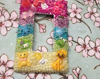 light switch plate cover decoden cute kawaii style rainbow lighting (large hole)