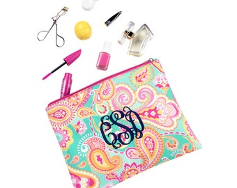 Personalized Cosmetic Bags, Monogrammed Cosmetic bags, Bridesmaid Gifts, Monogrammed Zip Pouches, Cosmetic bags