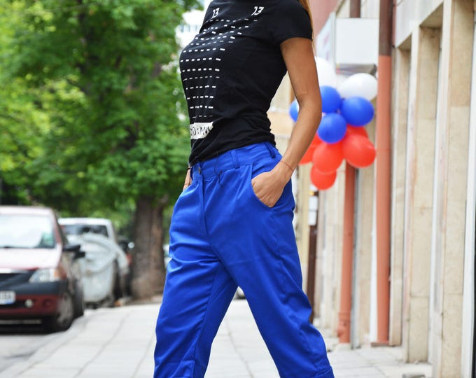 Blue Cotton Wide Leg Pants Side Pockets, Extravagant Trousers With Tulle, Elegant Plus Size Clothing By SSDfashion