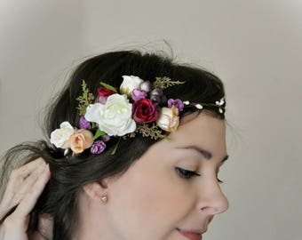 Ready to ship Bridal flower crown Bridal floral crown Floral wedding crown Wedding flower criwn Flower halo Flower girl halo Hair LV12