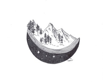 Moon under Mountains - Illustration - Pen and Ink - Drawing - Giclee - Sketch - Minimalist