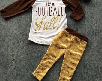 CLEARANCE!!  Its Football Yall Sequin Boutique Set 2T