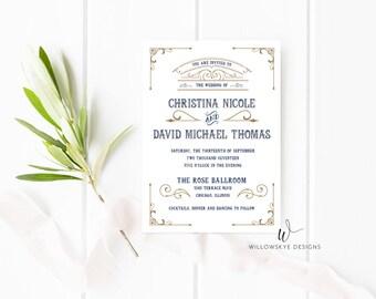 Vintage Glam Wedding Invitation -- SAMPLE