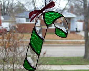 Green Candy Cane Suncatcher