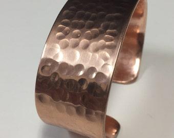 Wide Hammered Copper Cuff Bracelet