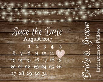 Rustic Save The Dates Customized Digital Download