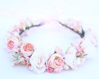 Pastel blush pink flower crown,Flower headband, headband, wedding flower crown, bridal flower crown, bohemian flower crown,pink flower crown