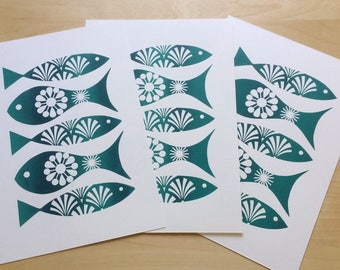 Fish Print, Retro Fish Print, Father's Day Gift, Beach Hut Decor, Scandinavian Print, Retro Screen Print, Hand-Pulled Screen Print