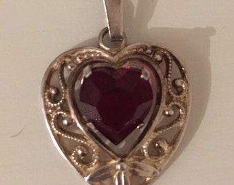 Sterling Silver and Gold Plated Garnet Heart Pendant