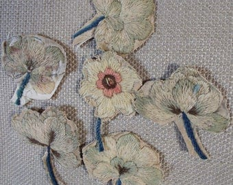 Crewel Work Embroidery 18th Century English Needlework Floral Applique SIX Flowers