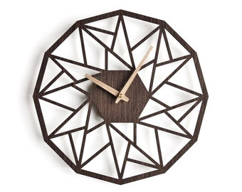 oversized wall clock 30 cm - 12 in | modern clock |  geometric clock | laser cut wall clock |  wenge wall clock | decorative clock |