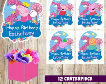 12 Peppa Pig centerpieces, Peppa Pig  printable centerpieces, Peppa Pig  party supplies, Peppa Pig  birthday, Peppa Pig  decorations