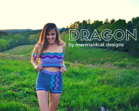 crochet shorts, crop top, and romper 3-for-1 pattern -Dragon
