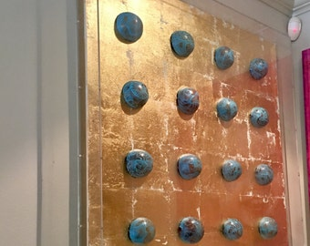 "36x36x4 ""Jícara shells turquoise"" encased in Lucite shadowbox"