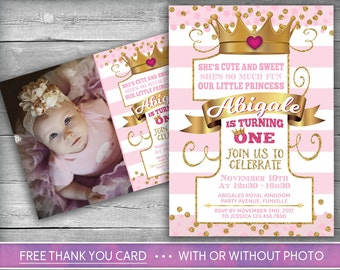 Princess Invitation | Little Princess First Birthday | Number One | Girl First Birthday Invite | Pink Gold | Crown | Royal | Photo Invite