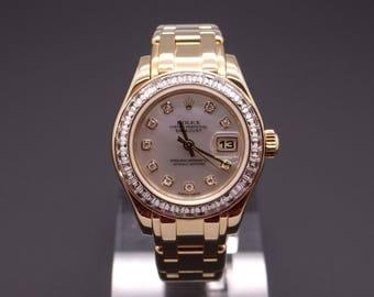 Magnificent Vintage Rolex PearlMaster DateJust 1995 18k Yellow Gold Factory Diamond & Bezel Dress Watch 80308