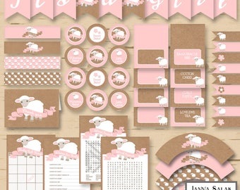 Little Lamb Baby Shower Party Package Pink and Brown Girl DIY Printable INSTANT DOWNLOAD Pdf LL01