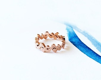 ON SALE Matte Wave Band Ring 18K Rose Gold Band Ring Multifinger Ring Knuckle Ring Stack Ring Tail Ring Simple Band S Band Ring Wedding Idea