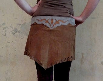 Wrapskirt Leather Suede Skirt with Fringes Steampunk Festival Tribal Burning Man Suede Mini Wrap Skirt Belt Goa Trance Utility Belt Elven