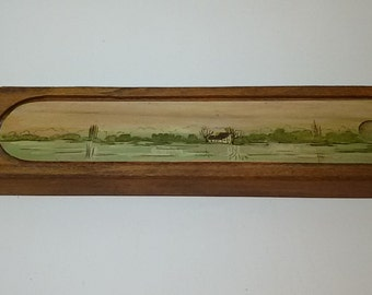 French antique/Pen tray hand painted wood.