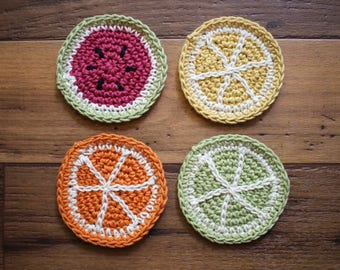 Crochet Fruit Slice Coasters (set of 4)