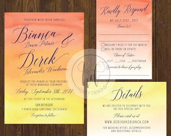 Watercolor Wedding Invitation, Formal Wedding Invitation, Elegant Wedding Invitation,  Classic Wedding Invite, Modern Wedding Invitation