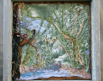 "Pond Scene Fiber Art, Framed Art Quilt, Landscape Art Quilt, Fabric Art, Wall Art, Home Decor, Gift for Anyone, 9.5"" x 9.5"""