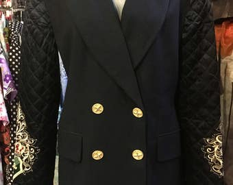 1990' Atelier wool jacket, quilted, embroidered sleeves. Size M.