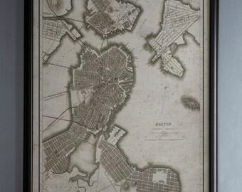 Boston Map: Vintage Map of Boston, Massachusetts - Circa 19th C. - Weathered Map
