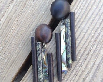 Stone and wood  earrings