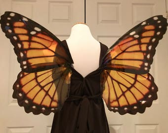 Monarch butterfly wearable realistic wings