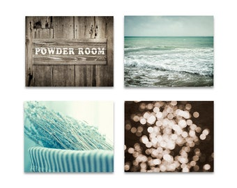 Bathroom art set, bathroom decor, brown powder room decor, art for powder room, rustic set of 4 prints, beach bathroom art, mint wall art