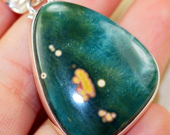 Genuine Ocean Jasper    set in Solid 925 Sterling Silver Pendant