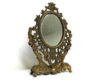 Brass Table Mirror Etsy