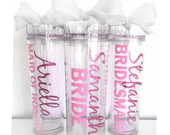 7 Custom skinny tumblers, bridal set, personalized cups, bridal shower gift, wedding gift, wedding favors, bridesmaids gift, wedding cup