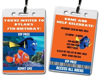 Finding Nemo Birthday Party Invitation Lanyards Kids