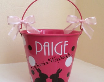 Personalised Metal Easter Egg Hunt Bucket Unique Fillable Chocolate Goodies