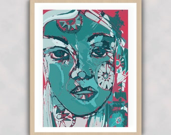 Twinkle-Digital-Wall Art-Print-Face-Colour-Pop Art-Quirky