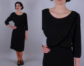 Vintage 1940s Dress | Black Crepe Dress with Wrap-Look Lace Edged Bodice | Extra Large
