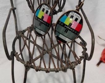 Test pattern TV earrings