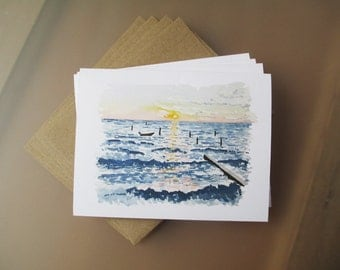 Smith Beach Watercolor Note Card Set | Blank Note Cards | Hand Painted | Watercolor Painting