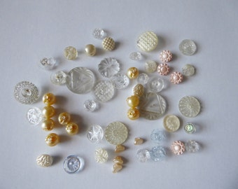 50 vintage glass buttons