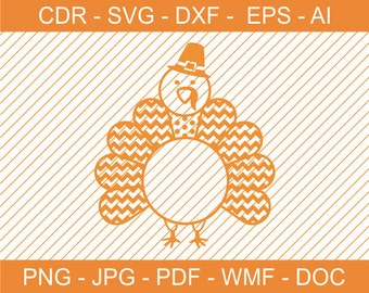 Abstract Turkey with Chevron for Monograms, Turkey SVG, Thanksgiving DXF, Cricut, Cameo, DIY, File for Cutting Plotters, Printable, Clipart