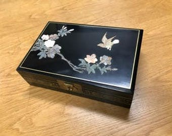 Jewelry Box with hand-crafted soapstone carving