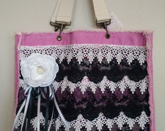 Pink and Black lace tote