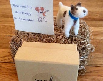 Needle felted Dog in a gift box with a blank gift card for your own message. Sweet little terrier style dog which would make a lovely gift