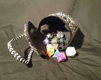 D20 style black and white keyboard fabric dice bag