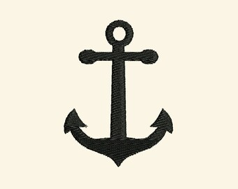 Anchor silhouette fill stitch design / INSTANT Welcome banner simply embroidery fill stitch nautical designs assorted sizes