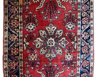 Hand made antique Persian Sarouk rug 1.9' x 2.9' ( 59cm x 91cm ) 1940s