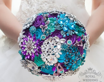 Brooch Bouquet Crystal Wedding Bouquet Teal Bouquet Turquoise Bouquet Purple Bouquet Bridal Bouquet Bridesmaids Bouquet Keepsake Bouquet